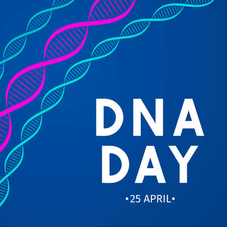 DNA day typography poster. Neon helix of human DNA molecule. Science  concept vector illustration. Easy to edit template for banner, brochure, greeting card, flyer, etc.