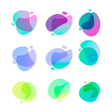 Bright abstract shapes. Set of nine gradient colored forms. Flowing liquid stains. Watercolor stains. Easy to edit vector element of design for banners, logo, etc