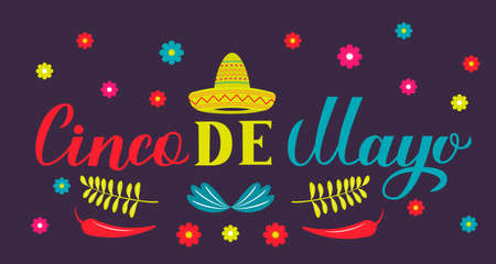 Cinco De Mayo lettering with Sombrero, peppers, maracas and flowers. Mexican fiesta typography poster. Vector template for party invitation, banner, poster, greeting card, flyer, etc. Ilustrace