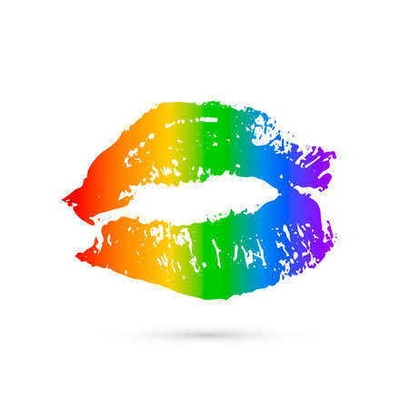 Rainbow lipstick kiss isolated on white. LGBT community symbol.  Gay pride vector illustration. Imprint of the lips. International Day Against Homophobia poster, sign, greeting card, flyer, sticker