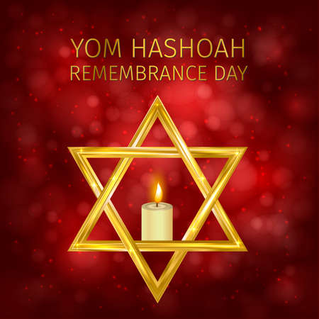 Yom Hashoah background. Holocaust Remembrance Day vector illustration. Jewish Star of David and burning candle. Easy to edit template for poster, sign, banner, postcard, flyer, etc. Illustration