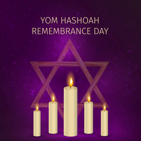 Yom Hashoah background. Holocaust Remembrance Day vector illustration. Jewish Star of David and burning candles. Easy to edit template for banner, poster, sign, flyer, postcard, etc.