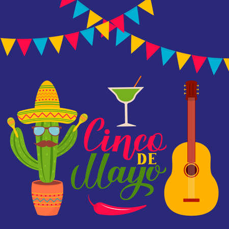 Cinco De Mayo lettering with traditional mexican symbols: Sombrero, cactus, guitar, maracas, pepper, margarita, flags. Easy to edit template for party invitation, banner, poster, greeting card, flyer. Ilustrace
