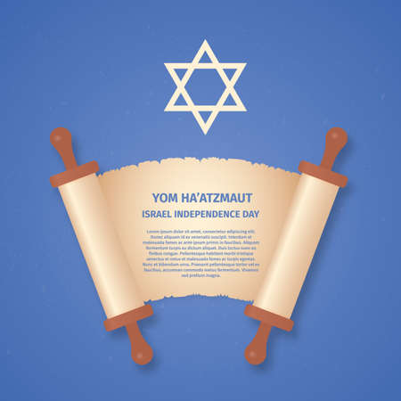 Israel Independence Day (Yom Haatzmaut). Old scroll paper and Star of David. Jewish holiday illustration. Easy to edit template for banner, poster, sign, flyer, postcard, etc. Çizim