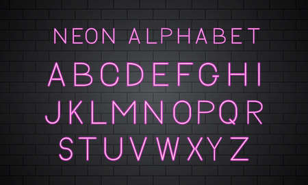 Neon hot pink alphabet on brick wall background. Sans serif font. Glowing latin uppercase letters. Typeface for headlines, banners, signboards, posters, etc. Easy to edit design template.