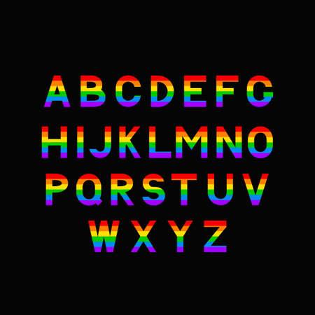 Alphabet arc-en-ciel. Police de caractères de la communauté LGBT.