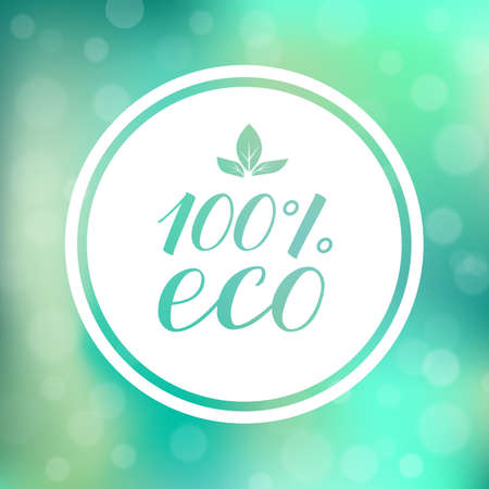 100% eco hand written phrase on green gradient background with circle frame. Organic  and Healthy food concept. Ilustração