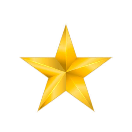 Metallic gold star isolated on white background. 3d golden star icon.
