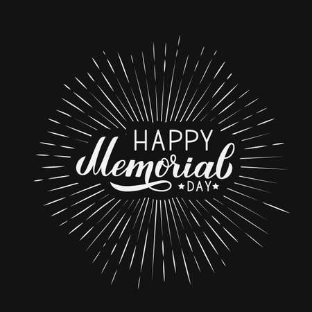 Happy Memorial Day calligraphy hand lettering. American patriotic  celebration poster. Vector illustration. Easy to edit template for logo design, greeting card, banner, sign, postcard, flyer, badge. Vettoriali
