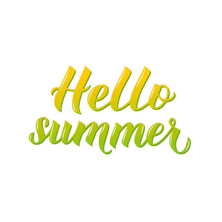 Hello summer 3d lettering isolated on white background. Inspirational seasonal quote typography poster. Hand written logo design. Easy to edit vector template for banner, flyer, sticker, t-shot.