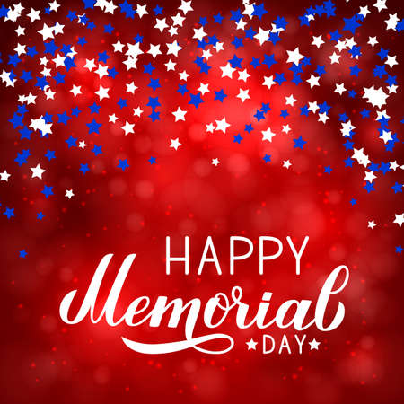 Happy Memorial Day calligraphy lettering with stars confetti on bright red background. Vector illustration. Easy to edit template for poster, banner, greeting card, postcard, sign, flyer. Illustration