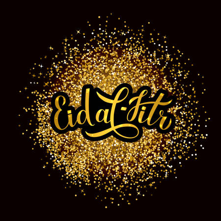 Eid al-Fitr calligraphy lettering on gold glitter textured background. Muslim holiday poster. Islamic traditional festival of breaking the fast. Vector template for banner, greeting card, invitation. Çizim