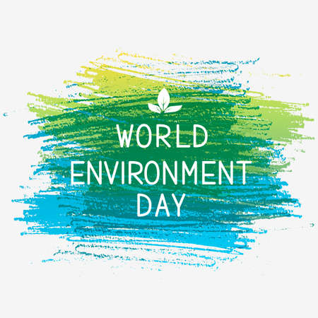 World Environment Day lettering with leaves on pencil stroke background. Ecology concept typography poster. Easy to edit vector template for logo design, banner, flyer, sign, greeting card, etc. Illustration