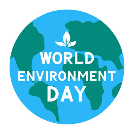 World Environment Day lettering with globe. Ecology concept typography poster. Easy to edit vector template for logo design, banner, flyer, sign, greeting card, etc.