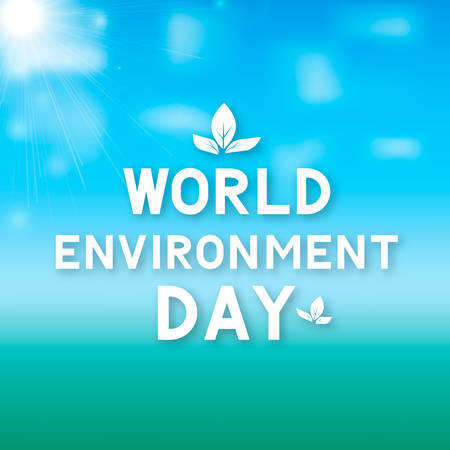 World Environment Day lettering with leaves on green blue gradient background. Ecology concept typography poster. Easy to edit vector template for logo design, banner, flyer, sign, greeting card, etc. Illustration