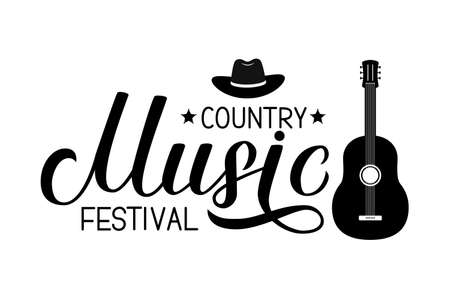 Country Music festival lettering with hat and guitar isolated on white. Acoustic guitar musical show typography poster. Easy to edit vector template for banner, sign,  flyer, invitation. Illustration