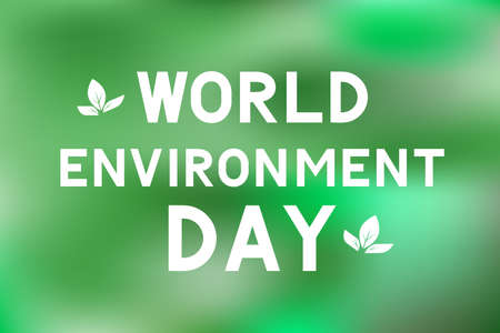 World Environment Day lettering with leaves on green blurred background. Ecology concept typography poster. Easy to edit vector template for logo design, banner, flyer, sign, greeting card, etc.