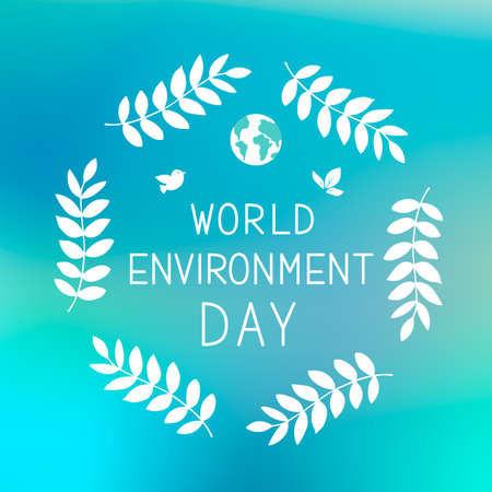 World Environment Day lettering with leaves on blue gradient background. Ecology concept typography poster. Easy to edit vector template for logo design, banner, flyer, sign, greeting card, etc.