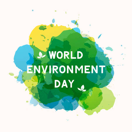 World Environment Day lettering with leaves on paint stains background. Ecology concept typography poster. Easy to edit vector template for logo design, banner, flyer, sign, greeting card, etc. Illustration