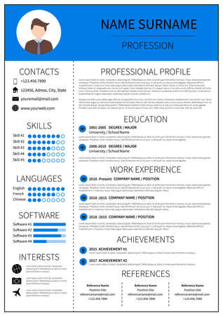 Resume template for man. Modern CV layout with infographic. Minimalist  curriculum vitae design. Employment vector illustration.