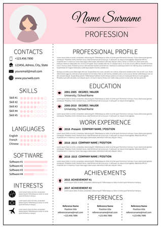 Resume template for women. Modern CV layout with infographic. Minimalist  curriculum vitae design. Employment vector illustration. Ilustrace