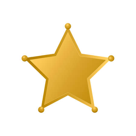Gold Sheriff star isolated on white background. Police badge vector icon. Golden pentagonal star. Easy to edit template for your design. Illustration