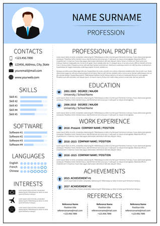 Moderne cv-lay-out met infographic. CV-sjabloon voor de mens. Minimalistisch curriculum vitae-ontwerp. Werkgelegenheid vectorillustratie.