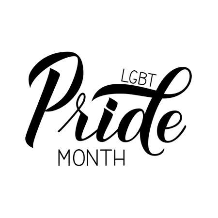 Pride month calligraphy hand lettering isolated on white. Pride Day,  Month, parade concept. LGBT community slogan. Vector illustration. Easy to edit template for banner, poster, t-shot, flyer.