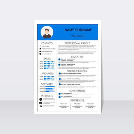 Resume template for man. Modern CV layout with infographic. Minimalistic curriculum vitae design. Employment vector illustration.