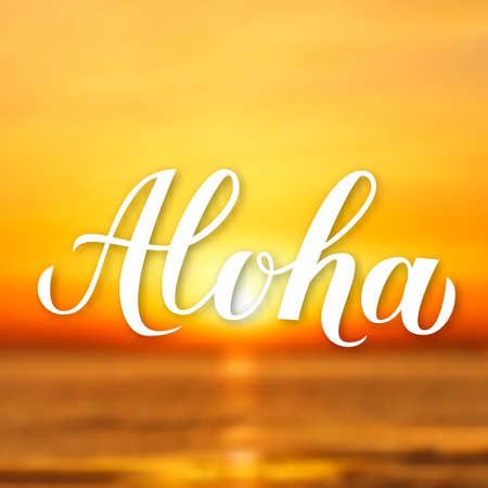 Aloha calligraphy lettering on bright background with sunset over the sea. Summer holidays banner. Hand written Hawaiian language phrase hello. Vector illustration. 일러스트