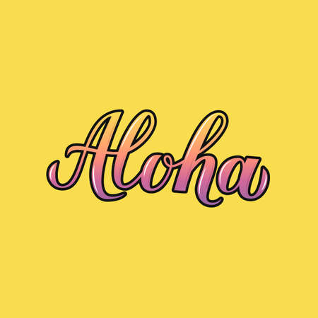 Aloha 3d calligraphy lettering on yellow background. Summer holidays concept. Hand written Hawaiian language phrase hello. Easy to edit vector template for logo design, banner, poster, flyer, t-shot.
