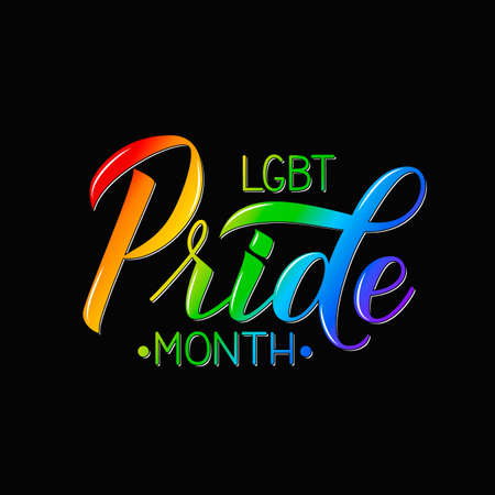 LGBT Pride Month 3d lettering colors of the rainbow on black background. Gay Pride and LGBTQ rights concept.  Easy to edit vector template for banner, poster, t-shot, flyer, sticker, badge. Иллюстрация