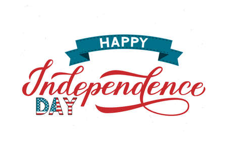 Happy Independence Day calligraphy hand lettering with ribbon. 4th of July retro celebration poster vector illustration. Easy to edit template for logo design, greeting card, banner, flyer, etc.