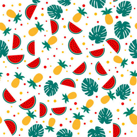 Summer seamless pattern with watermelons, pineapples and palm leaves. Seasonal vector background. Easy to edit template with for poster, card, banner, flyer, sticker, fabric, clothes.