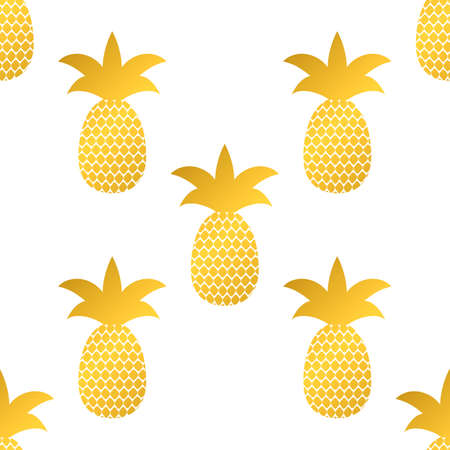 Seamless pattern with gold pineapple on white background. Golden tropical fruit vector illustration.  Easy to edit template for logo design, poster, banner, invitation, flyer, clothes, etc.