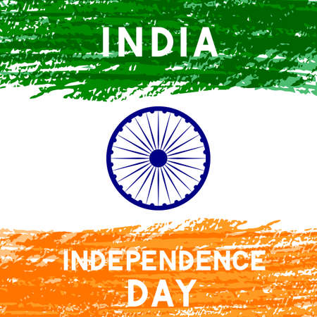 India Independence Day vector illustration. Indian holiday Celebration typography poster. Easy to edit template for  greeting card, banner, flyer,invitation, etc. Stok Fotoğraf - 129254334