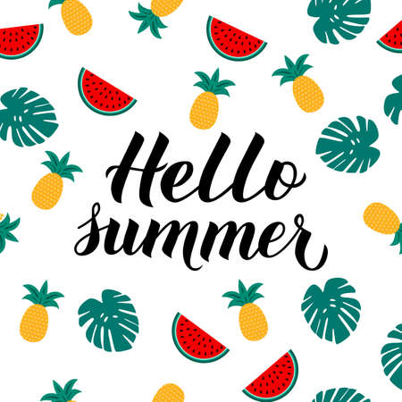 Hello summer calligraphy lettering with watermelons, pineapples and palm leaves. Seasonal typography poster. Hand written logo design. Easy to edit vector template for t-short, banner, flyer, sticker.