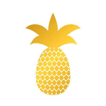 Gold pineapple icon isolated on white. Golden tropical fruit vector illustration.  Easy to edit template for logo design, poster, banner, invitation, wall art, flyer, t-short, mug, etc.