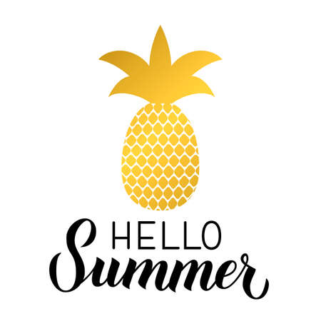 Hello summer calligraphy hand lettering with gold pineapple isolated on white. Inspirational seasonal quote typography poster. Easy to edit vector template for logo design, banner, flyer, sticker. Ilustracja