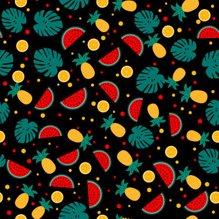 Summer seamless pattern with watermelons, pineapples and palm leaves on black. Seasonal vector background. Easy to edit template with for poster, card, banner, flyer, sticker, fabric, clothes.