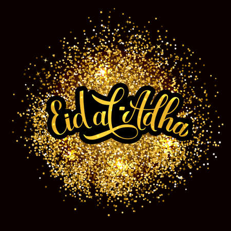 Eid al-Adha calligraphy lettering on gold glitter textured background. Kurban Bayrami Islamic holiday typography poster. Vector template for banner, greeting card, flyer, invitation.