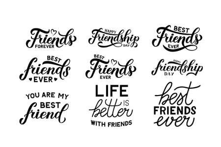 Insieme dell'iscrizione della mano di giorno dell'amicizia isolato su bianco. Elementi vettoriali di design facili da modificare per poster tipografici, banner, biglietti di auguri, adesivi, volantini, t-shirt, ecc.