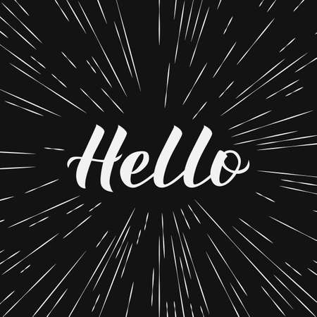 Hello calligraphy lettering on black background. Hand drawn typography poster. Word Hello written with brush. Vector template for greeting cards, welcome banners,  flyers. 向量圖像