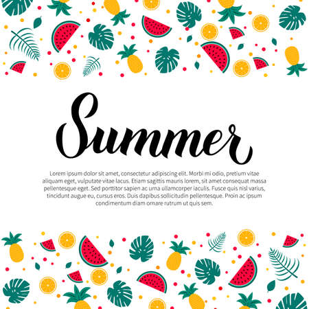 Summer calligraphy lettering. Watermelons, oranges, pineapples and palm leaves pattern. Seasonal typography poster. Vector template with copy space for logo design, card, banner, flyer, sticker.