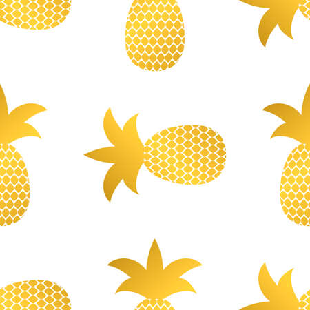 Seamless pattern with gold pineapple on white background. Golden tropical fruit vector illustration.  Easy to edit template for logo design, flyer, banner, poster, invitation, clothes, etc. Ilustracja