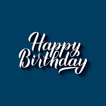 Happy Birthday calligraphy hand lettering with shadow on blue background. Birthday or anniversary celebration poster. Easy to edit vector template for greeting card, banner, flyer, sticker, t-shirt. Ilustracja