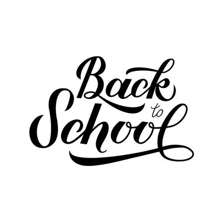 Back to school calligraphy hand lettering isolated on white. Easy to edit vector template for typography poster, logo design, banner, flyer, greeting card, postcard, party invitation, tee-shirt, etc.