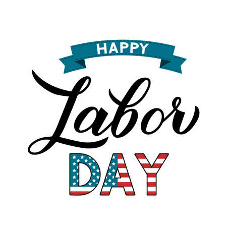 Happy Labor Day calligraphy hand lettering with ribbon isolated on white. Easy to edit vector template for typography poster, logo design, banner, flyer, postcard, greeting card, party invitation, etc Ilustracja