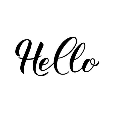 Hello modern calligraphy lettering isolated on white. Hand drawn typography poster. Word Hello written with brush. Vector template for greeting cards, welcome banners, flyers, tee-shirts, etc.
