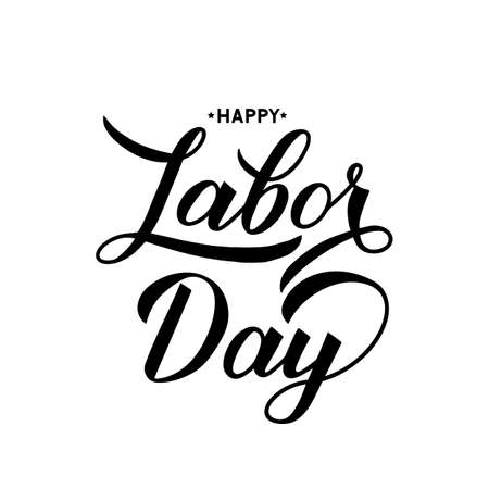 Happy Labor Day calligraphy hand lettering isolated on white. Easy to edit vector template for typography poster, logo design, banner, flyer, postcard, greeting card, party invitation, tee-shirt, etc. Zdjęcie Seryjne - 129254615